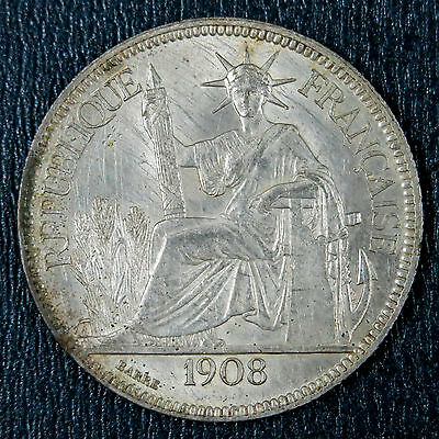 French Indochina 1908A Piastre KM# 5a.1 Silver Crown. High Grade.