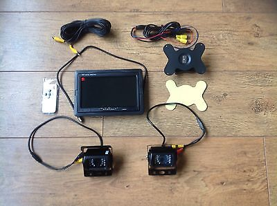 """2x IR Reverse Camera + 7"""" Monitor Kit for Tractor Combine Baler Self Propelled"""