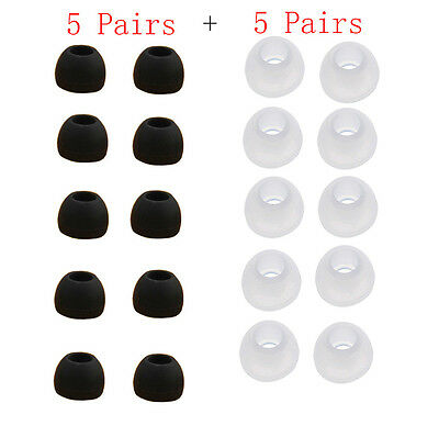 10 Pairs Medium Size Silicone Clear Replacement Ear Buds Tips For Sony Phillips