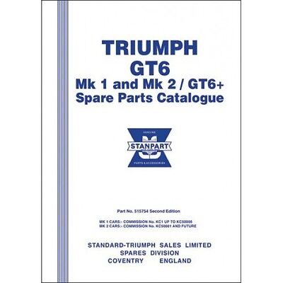 Triumph GT6 Mk 1 and Mk 2 /GT6 + Spare Parts Catalogue paper book