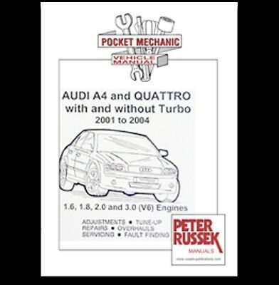 Audi A4 and Quattro with and without turbo 2001 to 2004 book paper car
