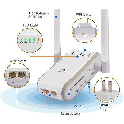 300M Wireless-N Wifi Repeater 2.4G Router Signal Booster Extender Amplifier MW