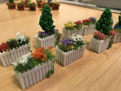 00 Gauge flower trough for model railway scenery (set of 3)