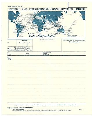 Imperial And International Communications Limited Blue Telegram 1933 World Map