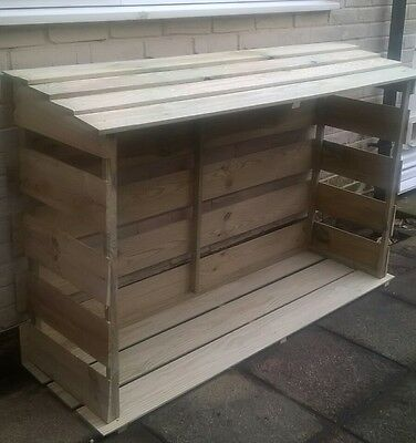 Wooden log store, dry store, firewood, shelter, garden, treated