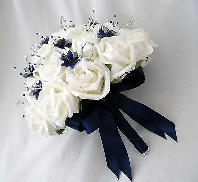 Brides Posy Bouquet, Ivory Roses & Navy Blue, Artificial Wedding Flowers