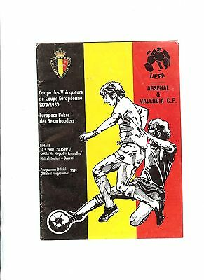 Arsenal v Valencia European Cup Winners Cup Final Football Programme 1980