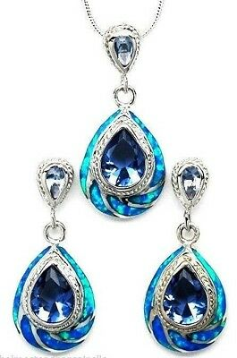 "Tanzanite Blue Fire Opal 925 Sterling Silver 18"" Necklace Pierced Earrings Set"