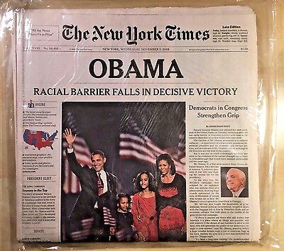 New York Times Obama Wins Election Nov 5, 2008 Late Edition Mint