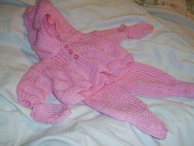 Baby Pink Hand Knitted Dolls Clothes Pram Set to fit 16/17 inch Doll