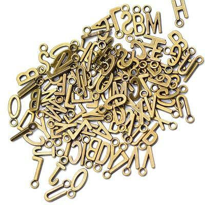 100 x Metal A-Z ALPHABET LETTER Silver Plated Charms Pendants Beads Findings