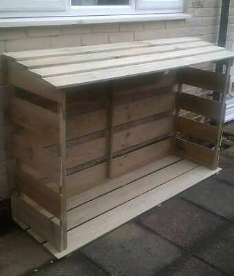 Wooden log store, dry wood store, outdoor treated, shed