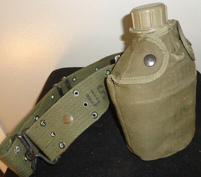 Genuine U.S. Military One Quart Canteen, Canteen Cover, & L- Adjustable Belt
