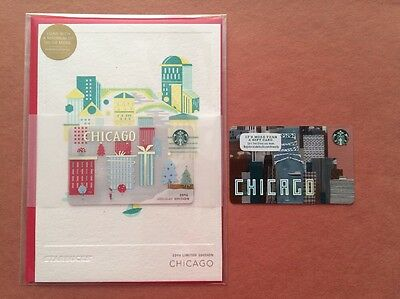 Lot Of 2 Starbucks Gift Card 2016 Chicago River And Chicago Holiday Edition