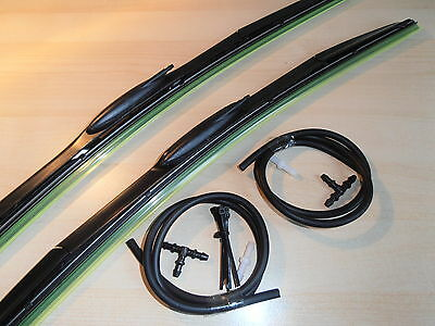 """HYBRID Upgrade Wiper Blades with Washer Jet 24""""x22""""Retro fit Hook.New to Market"""