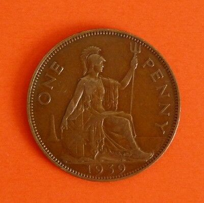 George V1  British One Penny Piece  1939