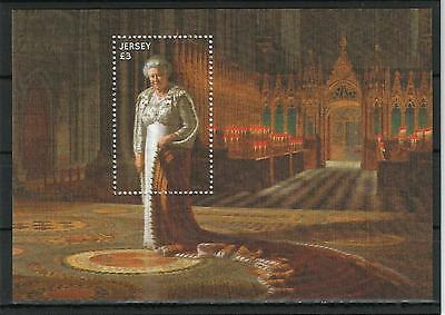 Jersey 2015 Queen Elizabeth II GB UK Paintig Gemälde Block on Silk Seide Rar MNH