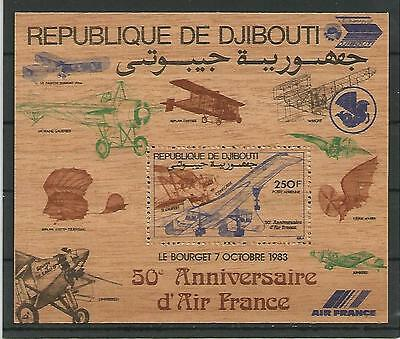 Djibouti Dschibuti 1983 50 years airline Air Francen WOODEN STAMP Holz Block MNH