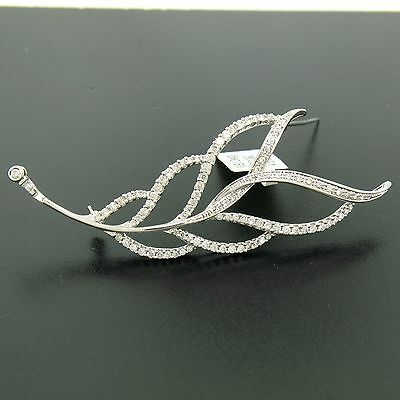 $4,578 MSRP NEW 14k White Gold 1.29ctw Brilliant Diamond Multi Leaf Brooch Pin