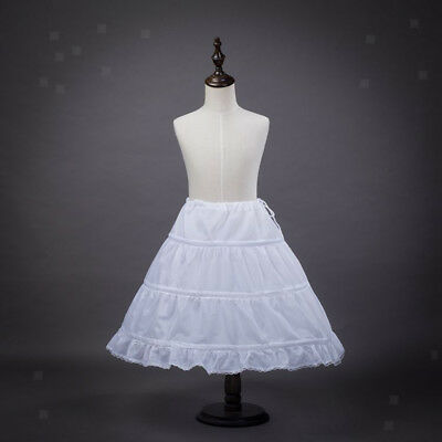 White 3-Hoop Flower Girl Petticoat Underskirt Kids Wedding Slips Crinoline
