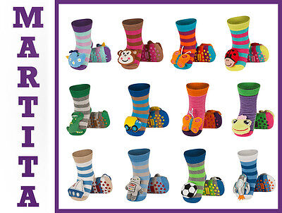 Baby Boys Girls Anti Slip Terry Socks With 3D Animal Rattle Age 0-24 Months