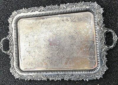 29 X 19 OLD SILVER PLATE FOOTED BUTLERS TRAY WAITERS TRAY PLATTER Pierced Edge