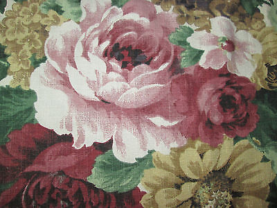 Floral Cotton Barkcloth Fabric Richloom 3.75 yd Panel Piece