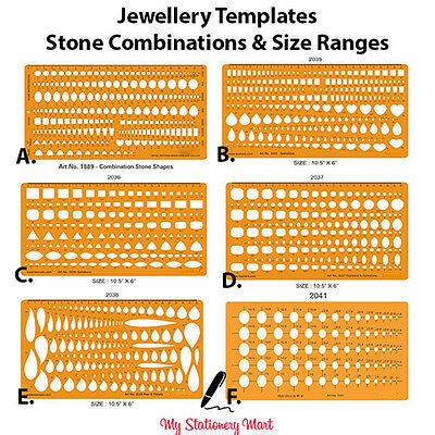 Jewellery Design Drawing Drafting Template Stencil Stone Gemstone Oval Heart