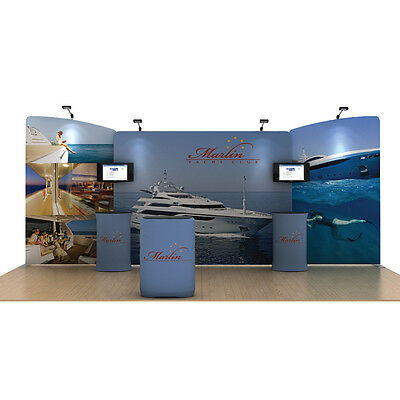 20ft portable fabric trade show display booth custom graphic TV bracket tables