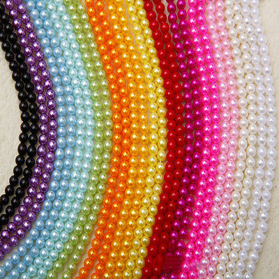 Craft 4/6/8/10mm Straight Hole Round Spacer Loose Beads Imitation pearl DIY