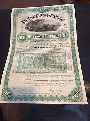 1887 Atlantic and Pacific  RR Stock Certificate--- Gold  Bond