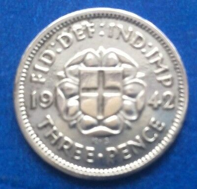 1942 King George Vi Silver Threepence Coin 75Th Birthday