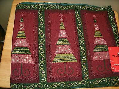 Tapestry Table Runner Christmas Trees  13in x 63 in New One Size Fit Most