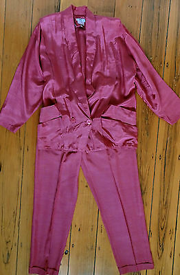 Cue fabulous vintage 1980s deep muted pink jacket & matching pants size 12