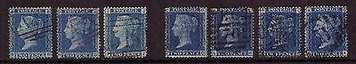 1858 - 69 2d Blue. Set of 7 plates, 7, 8, 9,12,13,14, & 15. Good/Fine sound used
