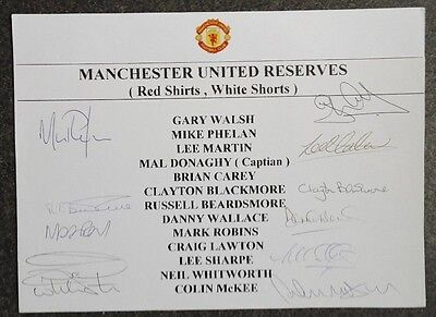 Manchester United - 10 Players 1991-92  A4 Display. Signed With Photo See Info..