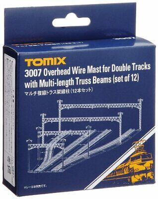 3007 Tomix Overhead Wire Mast for Double Tracks w/ Truss Beam (12 pcs) (N scale)