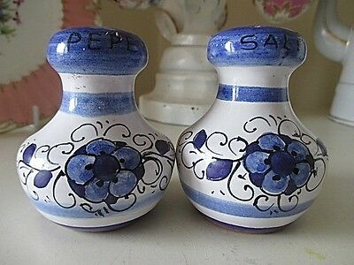 Pretty Blue & White Salt & Pepper Shakers Made in Italy Summer Table Must haves