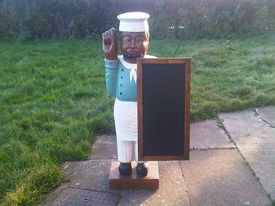 Life Size Solid Wood Advertising Chef Statue