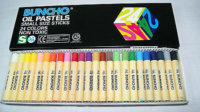 Buncho oil pastel 24 sticks w different colors for kids, school, office use