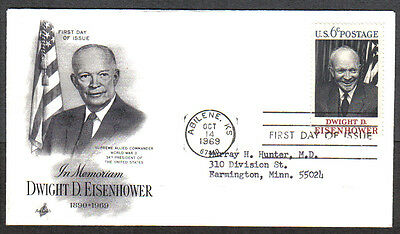Us Fdc 1969 Dwight D Eisenhower 6C Stamp Ac First Day Of Issue Cover Abilene Ks