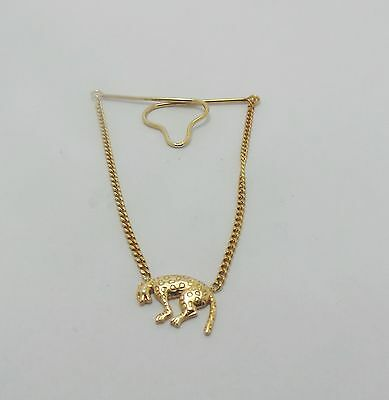 9ct YELLOW GOLD PANTHER BUTTON BROOCHE