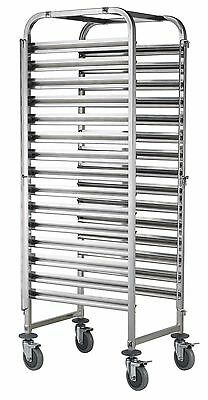15 Full 1/1 Stainless Steel Gastronorm Tray Trolley with Wheel & Locks