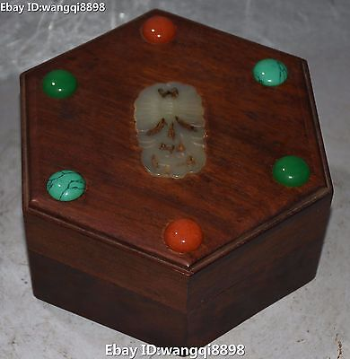 Chinese Wood Inlay Jade Carving Gexagon Butterfly Bead Jewel Case Jewelry Box