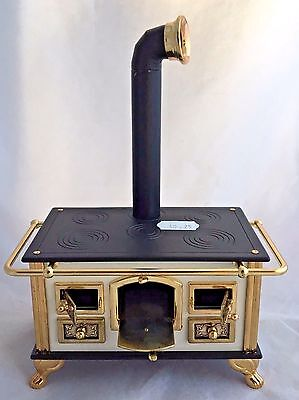 Vintage German Puppenherd Metal Dollhouse Wood Burning Scale Cooking Stove