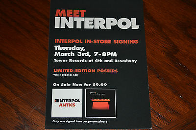 Interpol Antics Promo Postcard Matador Records 2005 Tower Records In-store