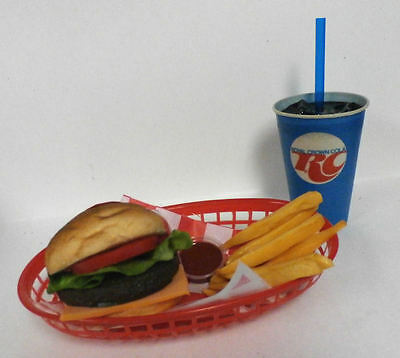 Fake Food Diner Car Hop Cheeseburger Fries W/ Rc Cola Cup Basket Ships Free