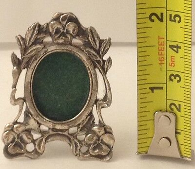 Antique Alpaca Small Picture Frame W/ Flowers & Leaves Design#122616