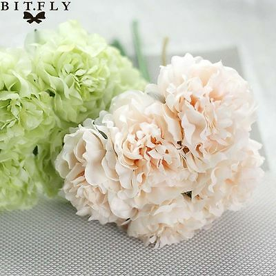 Artificial Bouquet Peony 5 Heads Flower Fake Leaf Home Wedding Party Decoration