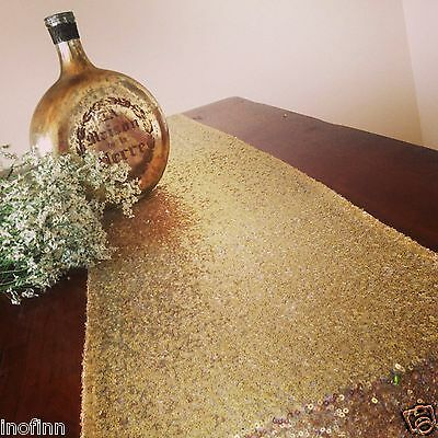"""New Gold Select Sequin Table Runner 12""""x72"""" Sparkly For Wedding Party Decor"""